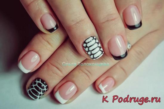 Смешанный французский дизайн ногтей