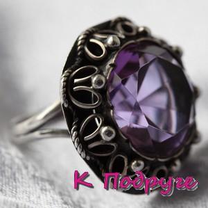 Кольцо с фиолетовым минералом