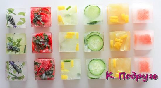 Косметический лед с травами, овощами и фруктами